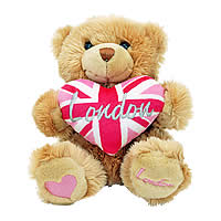 P37-4 - Cute soft Teddy bear with pink London heart