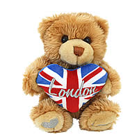 P37-5 - Cute soft Teddy Bear with blue Union Jack heart
